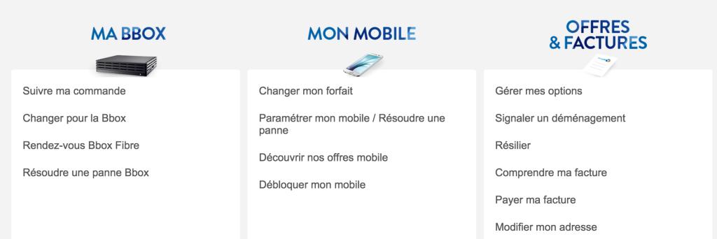 Aperçu de la page d'aide de l'opérateur Bouygues