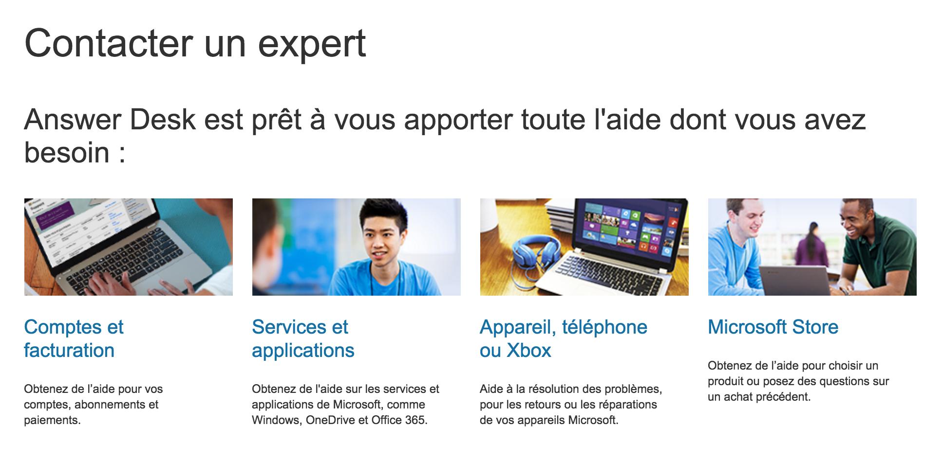 Aperçu de la page d'aide Microsoft
