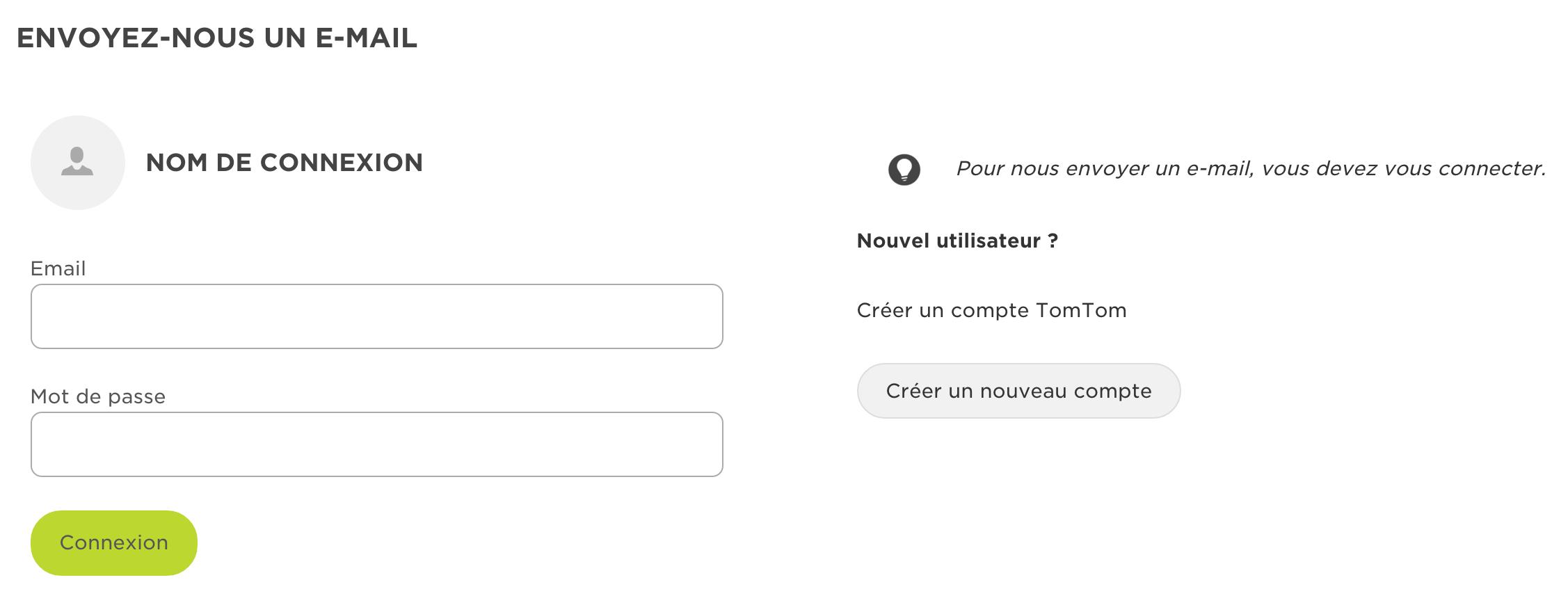 Aperçu de l'interface de connexion du support Tomtom