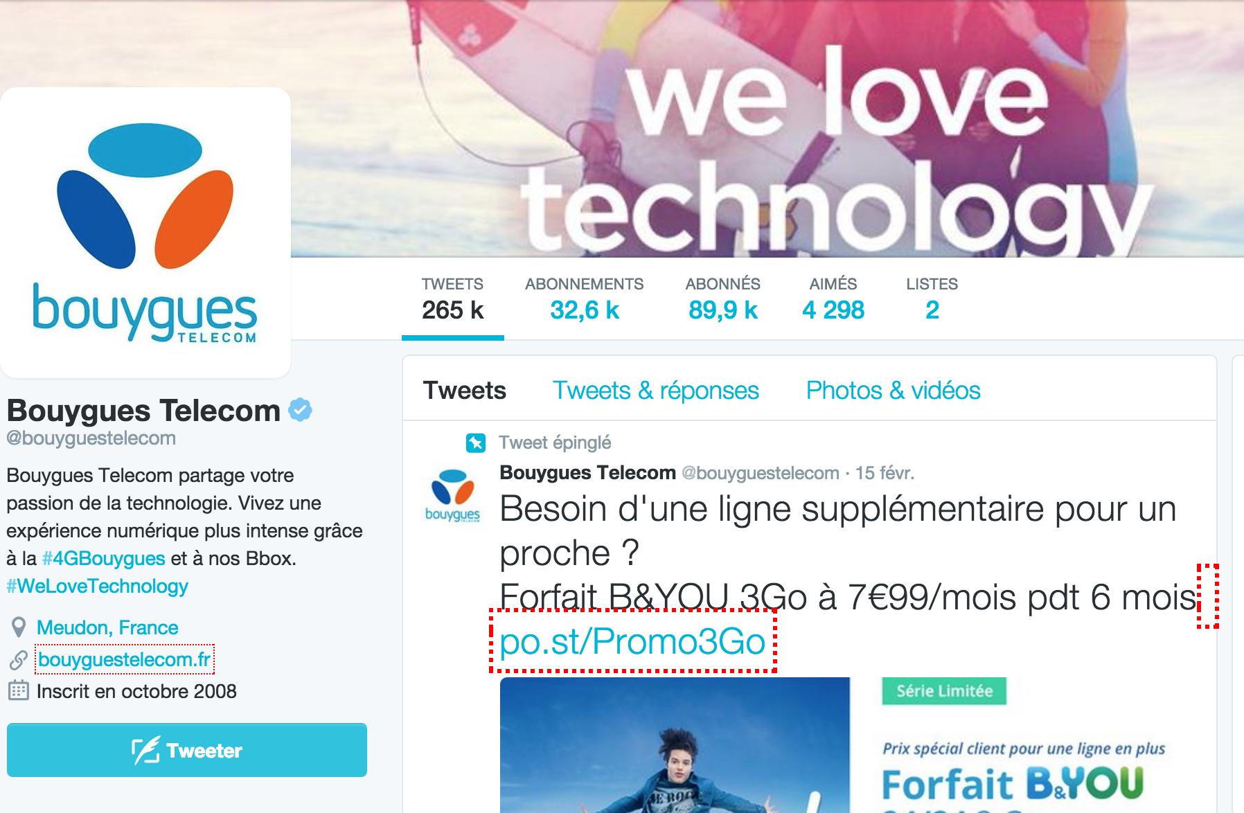 Cliquez pour contacter le support Bouygues via Twitter