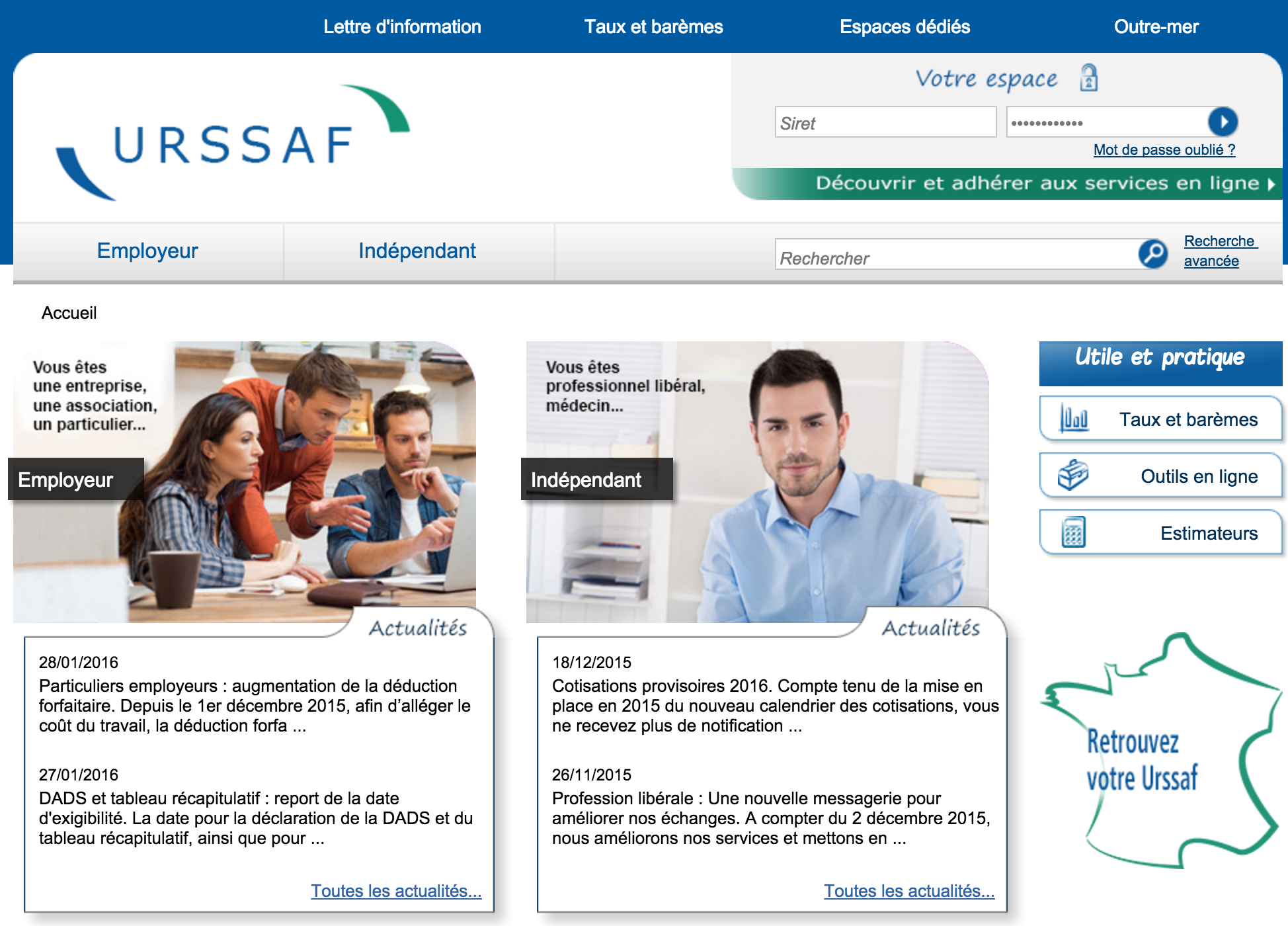 Interface du site officiel de l'Urssaf